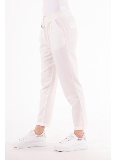 Stamina  Bayan Cepli Bağcıklı Düz Pantolon-Beyaz 4PN1524 Beyaz